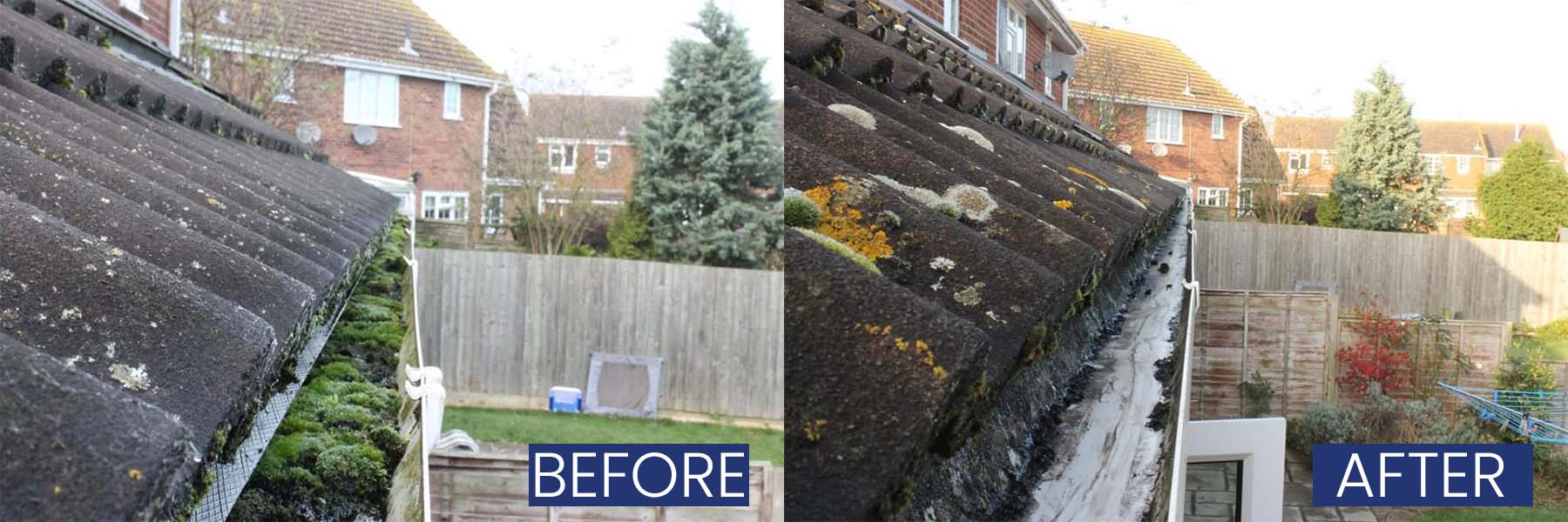 Before and after gutters