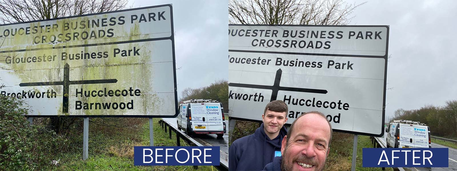 Before and after road signs